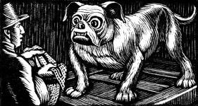 wood-engraving original print: Second Dog for Four Tales from Hans Andersen